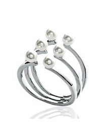 Bague Argent 925 Rhodié Perles Imitation