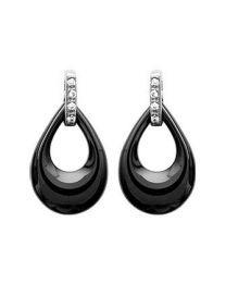 Boucles D'oreilles Argent 925 Rhodié Oxyde De Zirconium Céramique