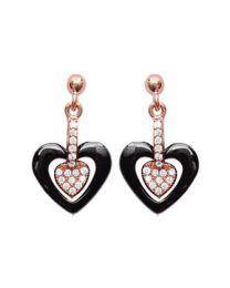 Boucles D'oreilles Plaqué Or Rose Oxyde De Zirconium Céramique coeur