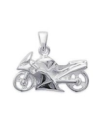 Pendentif Argent 925 Rhodié moto